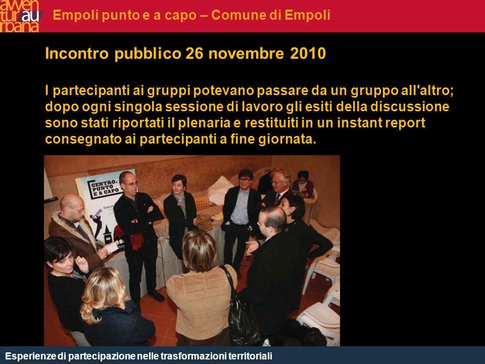 CHE COSè Incontro pubblico 26 novembre 2010 I partecipanti ai gruppi potevano passare da un gruppo all'altro; dopo ogni singola sessione di lavoro gli
