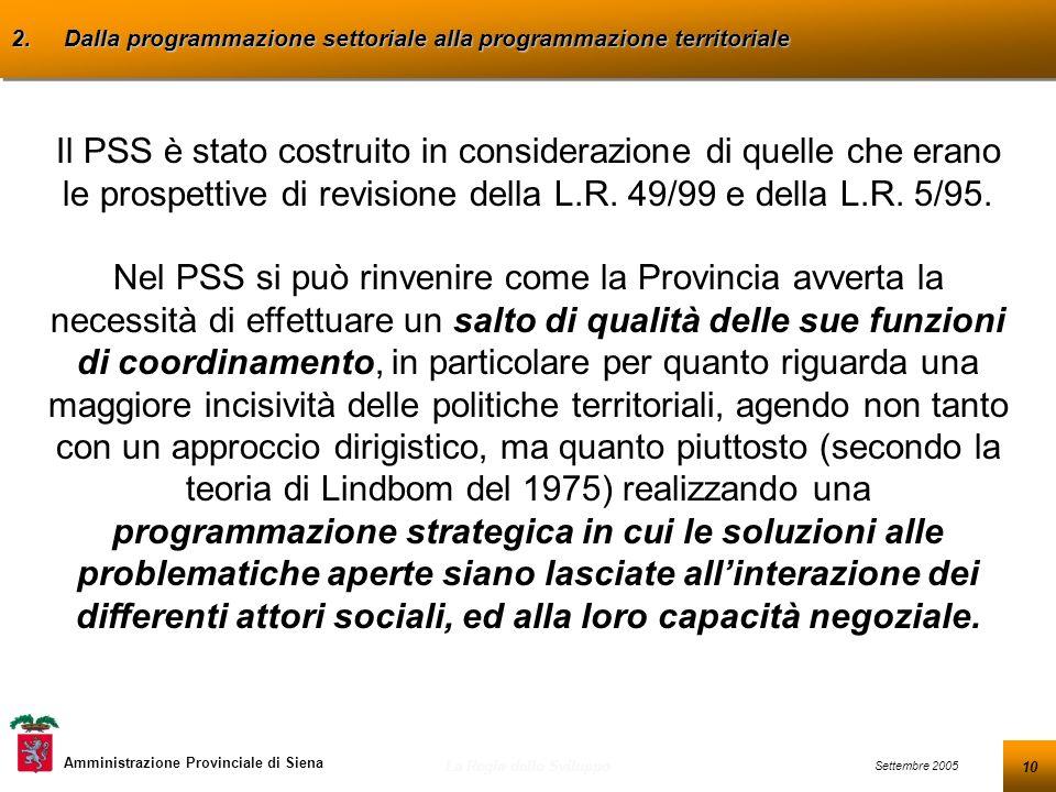 10 Settembre 2005 La Regia dello Sviluppo Amministrazione Provinciale di Siena 2.