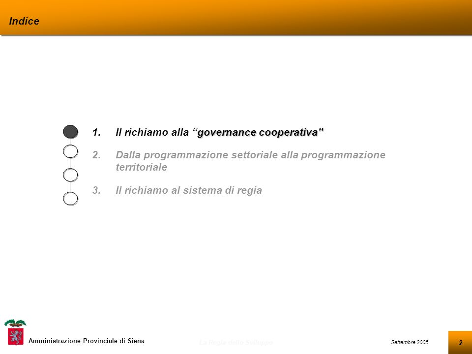 2 Settembre 2005 La Regia dello Sviluppo Amministrazione Provinciale di Siena Indice governance cooperativa 1.Il richiamo alla governance cooperativa 2.Dalla programmazione settoriale alla programmazione territoriale 3.Il richiamo al sistema di regia