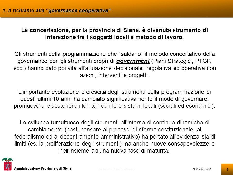 15 Settembre 2005 La Regia dello Sviluppo Amministrazione Provinciale di Siena Indice 1.Il richiamo alla governance cooperativa 2.Dalla programmazione settoriale alla programmazione territoriale 3.Dal PSS al PASL della provincia di Siena 4.Il richiamo al sistema di regia