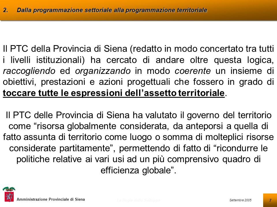 8 Settembre 2005 La Regia dello Sviluppo Amministrazione Provinciale di Siena 2.