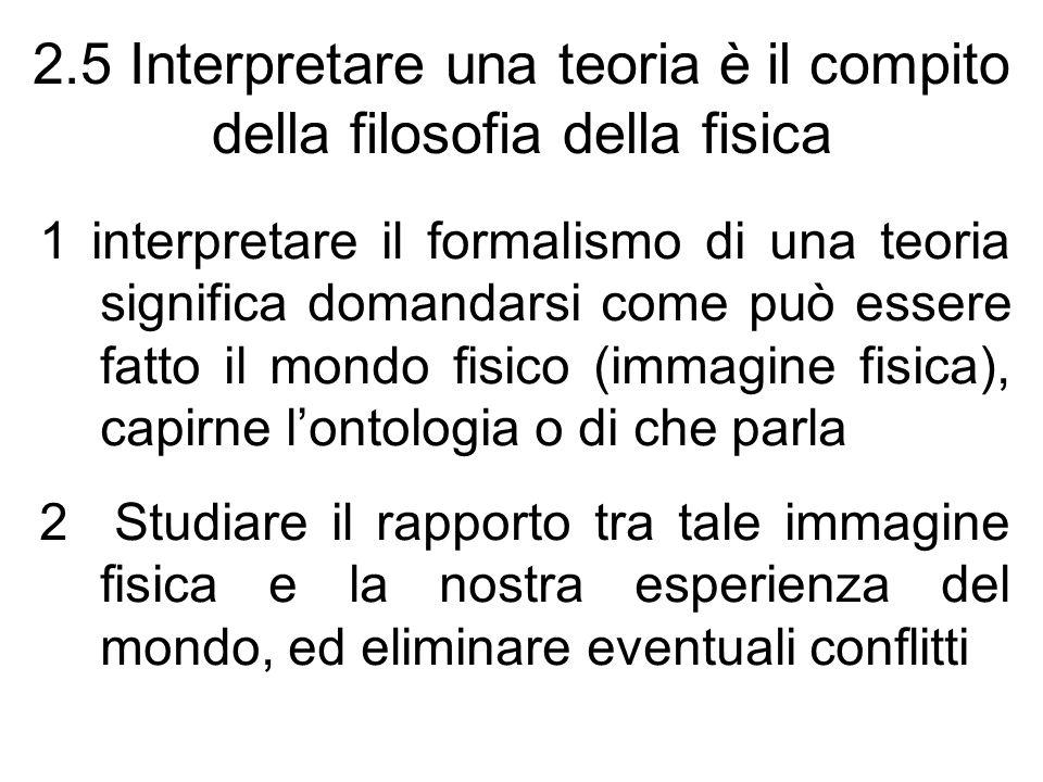 2.5 Interpretare una teoria è il compito della filosofia della fisica 1 interpretare il formalismo di una teoria significa domandarsi come può essere