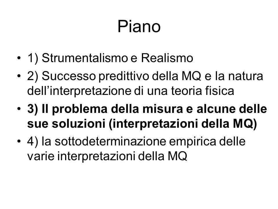 Piano 1) Strumentalismo e Realismo 2) Successo predittivo della MQ e la natura dellinterpretazione di una teoria fisica 3) Il problema della misura e alcune delle sue soluzioni (interpretazioni della MQ) 4) la sottodeterminazione empirica delle varie interpretazioni della MQ