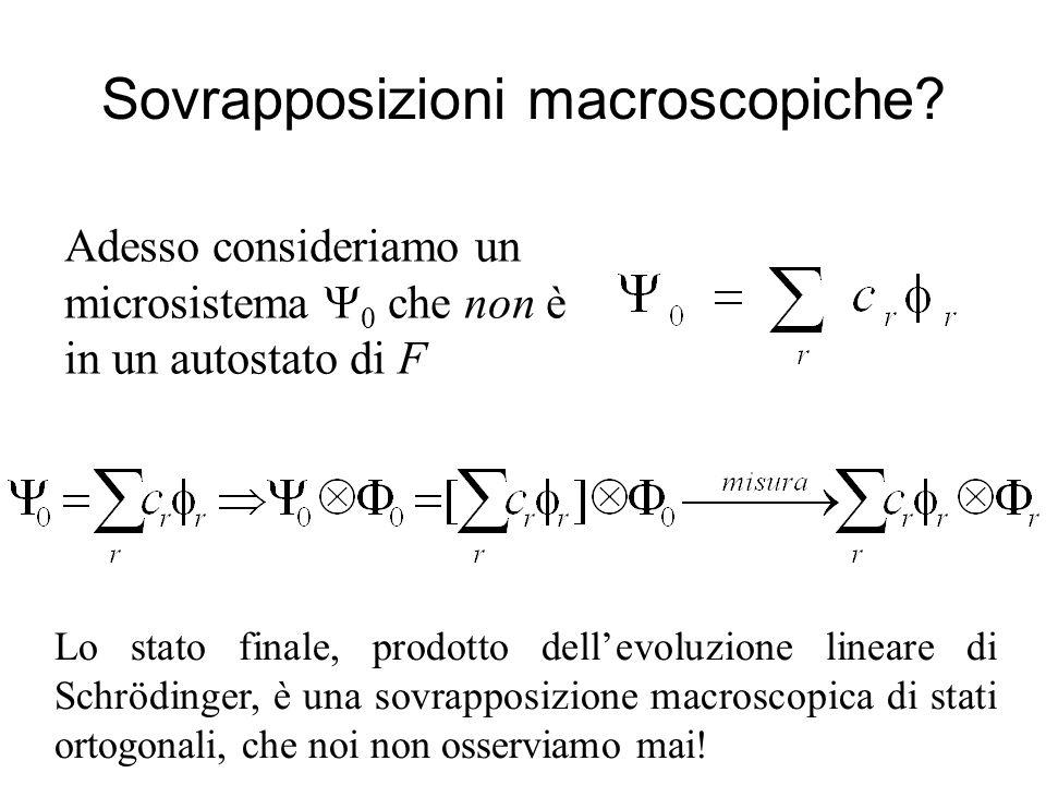 Sovrapposizioni macroscopiche? Adesso consideriamo un microsistema 0 che non è in un autostato di F Lo stato finale, prodotto dellevoluzione lineare d