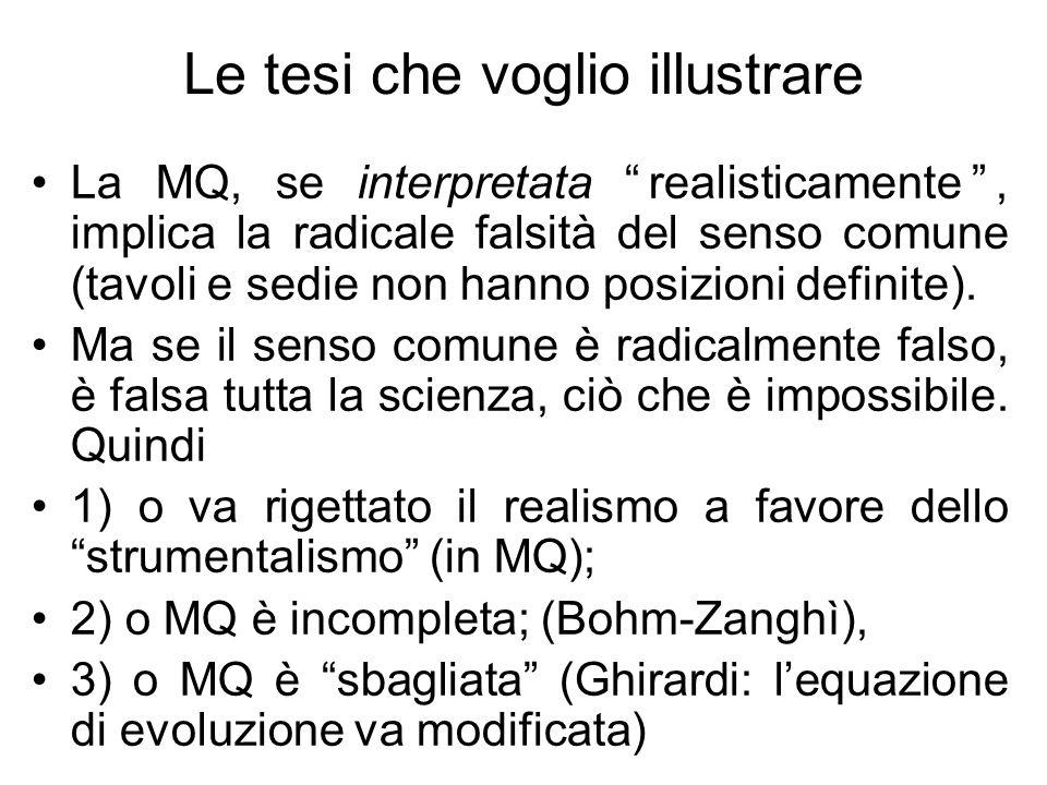 Le tesi che voglio illustrare La MQ, se interpretata realisticamente, implica la radicale falsità del senso comune (tavoli e sedie non hanno posizioni definite).