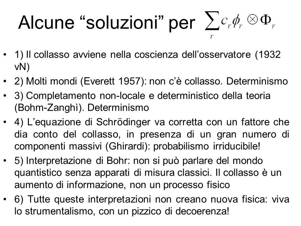 Alcune soluzioni per 1) Il collasso avviene nella coscienza dellosservatore (1932 vN) 2) Molti mondi (Everett 1957): non cè collasso. Determinismo 3)