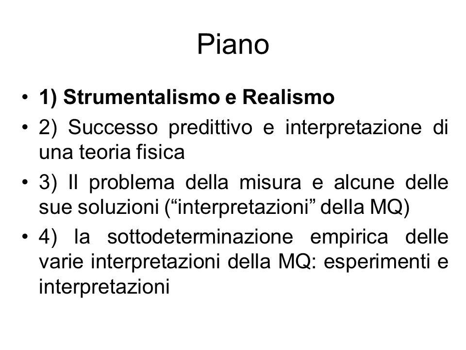 Piano 1) Strumentalismo e Realismo 2) Successo predittivo e interpretazione di una teoria fisica 3) Il problema della misura e alcune delle sue soluzioni (interpretazioni della MQ) 4) la sottodeterminazione empirica delle varie interpretazioni della MQ: esperimenti e interpretazioni