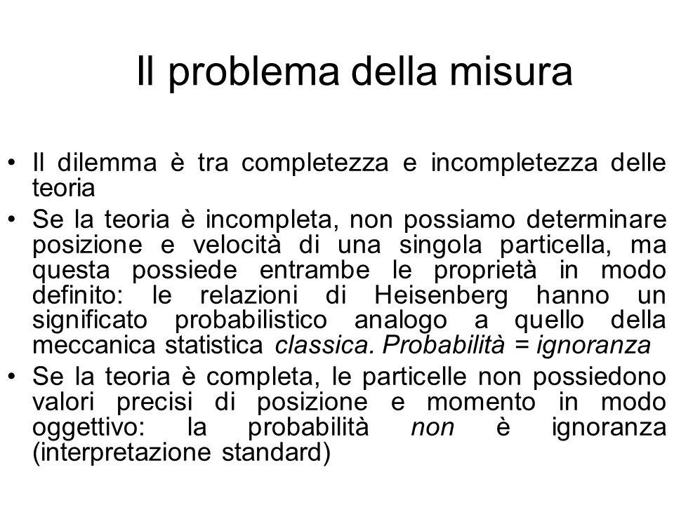 Il problema della misura Il dilemma è tra completezza e incompletezza delle teoria Se la teoria è incompleta, non possiamo determinare posizione e vel