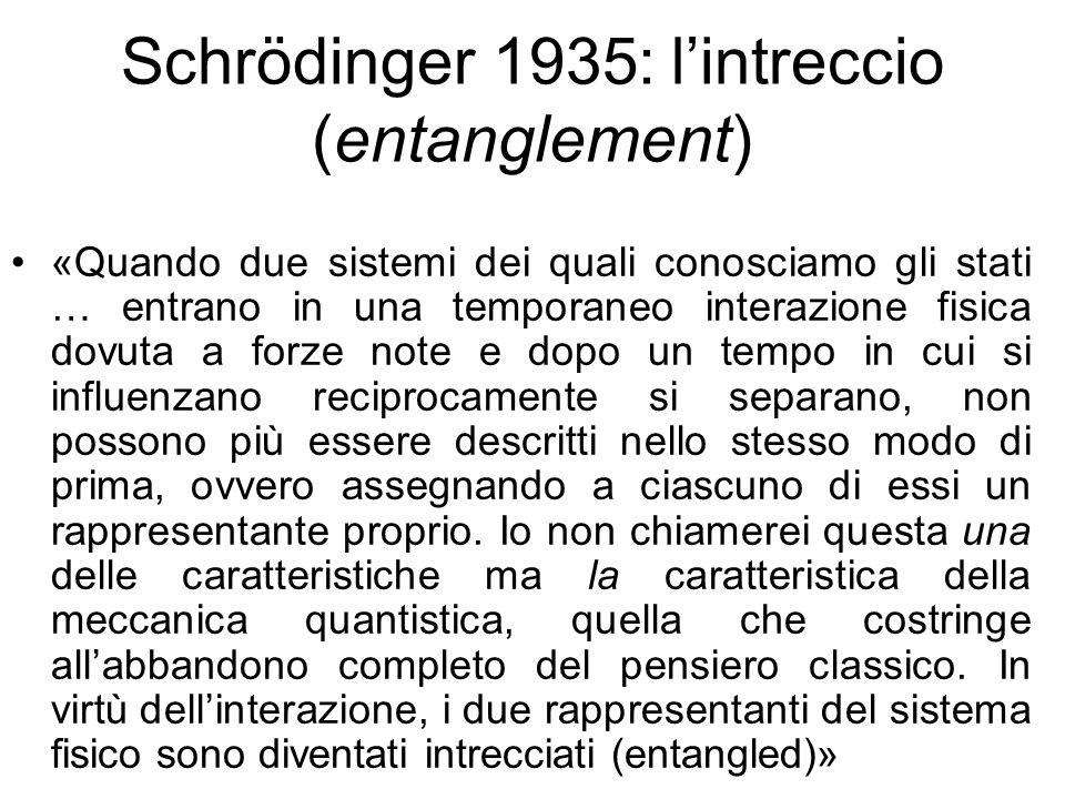 Schrödinger 1935: lintreccio (entanglement) «Quando due sistemi dei quali conosciamo gli stati … entrano in una temporaneo interazione fisica dovuta a forze note e dopo un tempo in cui si influenzano reciprocamente si separano, non possono più essere descritti nello stesso modo di prima, ovvero assegnando a ciascuno di essi un rappresentante proprio.