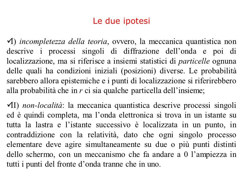 I) incompletezza della teoria, ovvero, la meccanica quantistica non descrive i processi singoli di diffrazione dellonda e poi di localizzazione, ma si