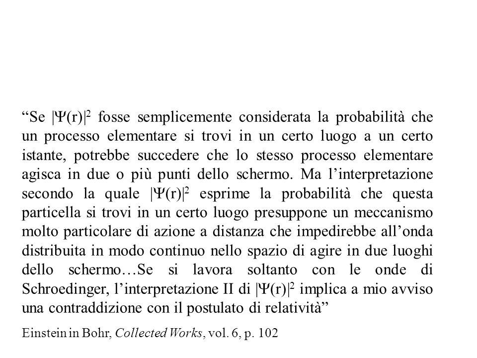 Se | r)| 2 fosse semplicemente considerata la probabilità che un processo elementare si trovi in un certo luogo a un certo istante, potrebbe succedere