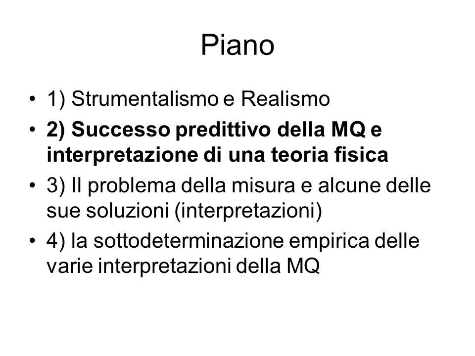 Piano 1) Strumentalismo e Realismo 2) Successo predittivo della MQ e interpretazione di una teoria fisica 3) Il problema della misura e alcune delle sue soluzioni (interpretazioni) 4) la sottodeterminazione empirica delle varie interpretazioni della MQ