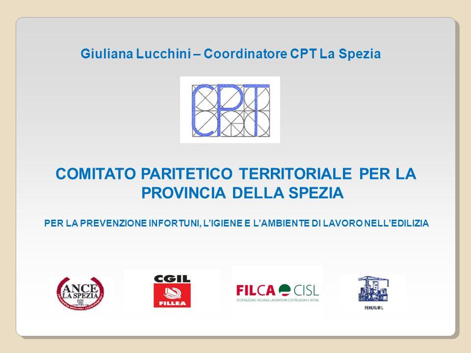 Il COMITATO PARITETICO TERRITORIALE della Spezia è costituito e gestito da ANCE La Spezia - Associazione Nazionale Costruttori Edili – e dalle Organizzazioni Sindacali FILLEA-CGIL, FILCA-CISL, FENEAL-UIL ed è fondato su un rapporto di pariteticità fra i partecipanti.