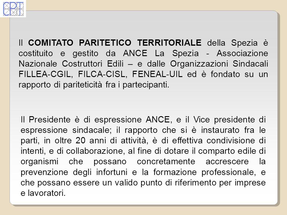 In provincia della Spezia il Comitato Paritetico Territoriale opera dall ottobre del 1988, ed è sorto con lo scopo di supportare imprese e lavoratori nello studio e nella risoluzione dei problemi inerenti la prevenzione degli infortuni allinterno dei cantieri edili