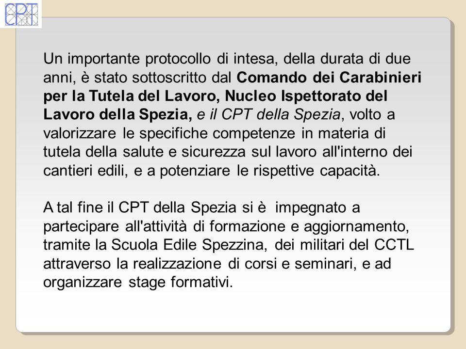 Un importante protocollo di intesa, della durata di due anni, è stato sottoscritto dal Comando dei Carabinieri per la Tutela del Lavoro, Nucleo Ispett