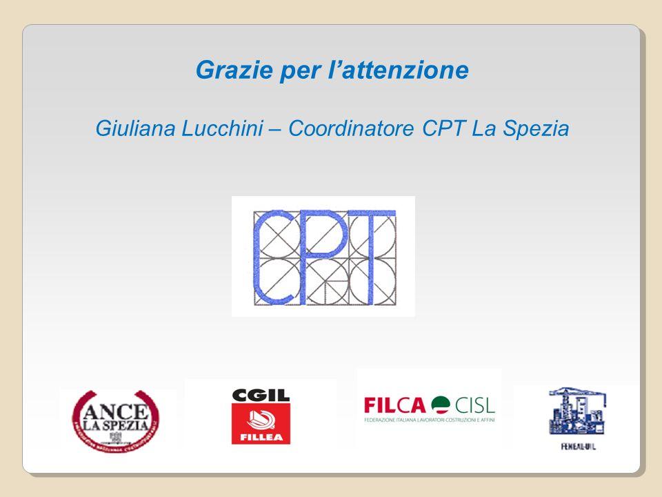 Grazie per lattenzione Giuliana Lucchini – Coordinatore CPT La Spezia