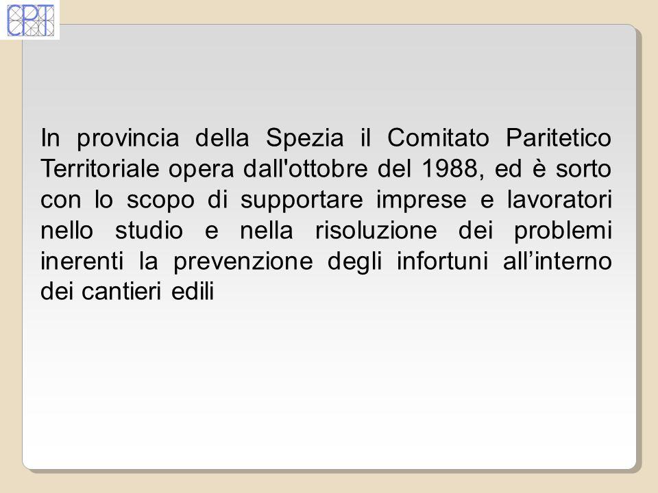 In provincia della Spezia il Comitato Paritetico Territoriale opera dall'ottobre del 1988, ed è sorto con lo scopo di supportare imprese e lavoratori