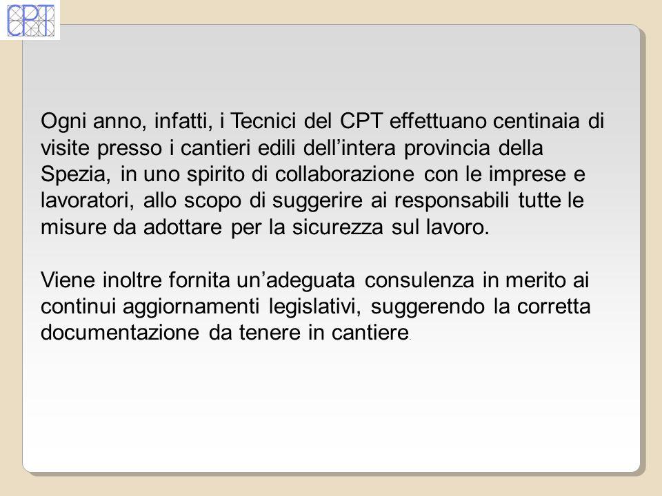 Ogni anno, infatti, i Tecnici del CPT effettuano centinaia di visite presso i cantieri edili dellintera provincia della Spezia, in uno spirito di coll