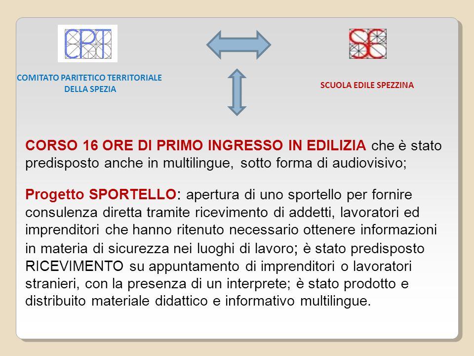 CORSO 16 ORE DI PRIMO INGRESSO IN EDILIZIA che è stato predisposto anche in multilingue, sotto forma di audiovisivo; Progetto SPORTELLO : apertura di