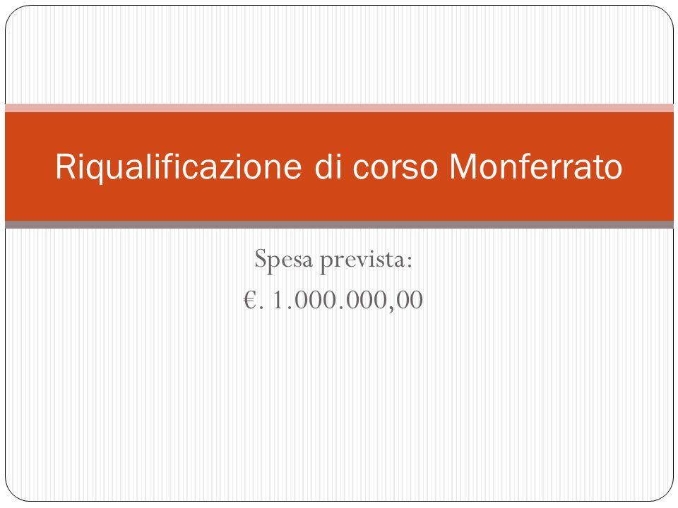 Spesa prevista:. 1.000.000,00 Riqualificazione di corso Monferrato