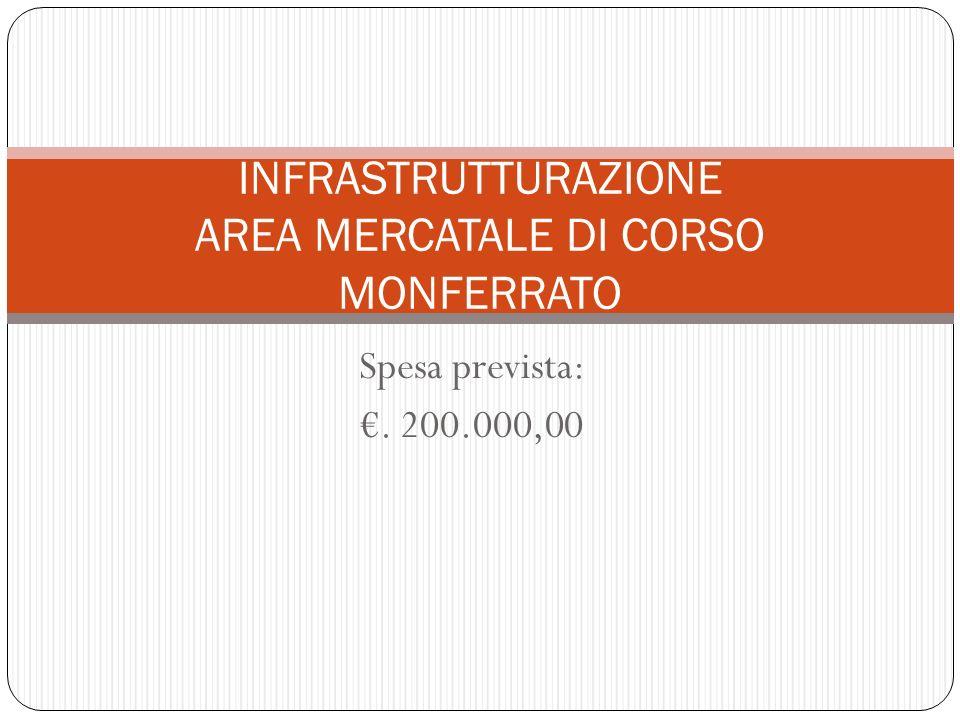 Spesa prevista:. 200.000,00 INFRASTRUTTURAZIONE AREA MERCATALE DI CORSO MONFERRATO