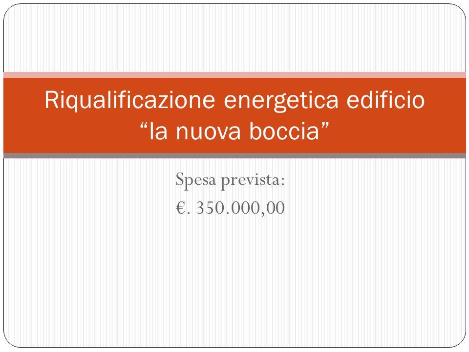 Spesa prevista:. 350.000,00 Riqualificazione energetica edificio la nuova boccia
