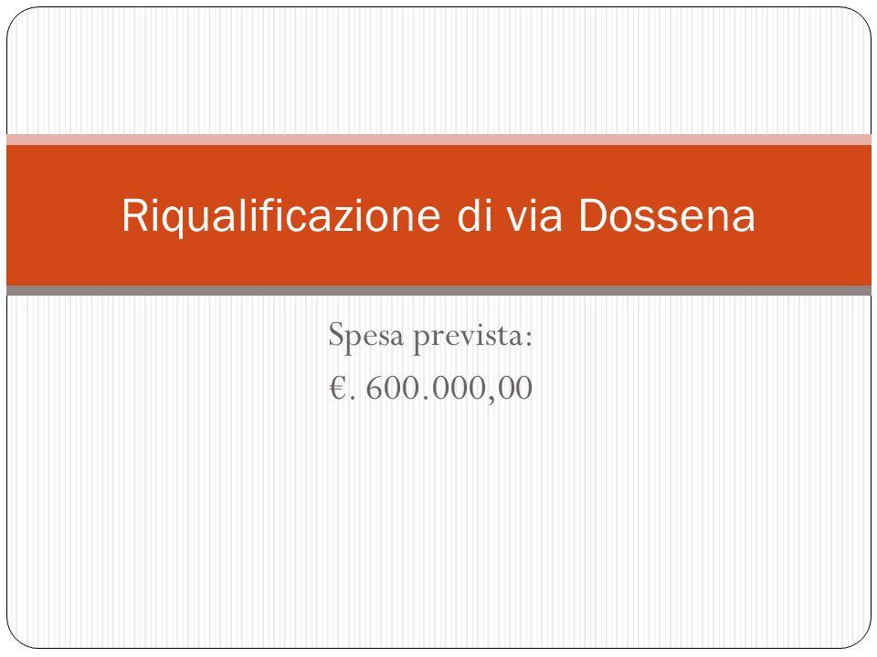 Spesa prevista:. 600.000,00 Riqualificazione di via Dossena