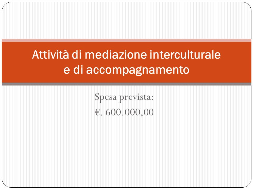 Spesa prevista:. 600.000,00 Attività di mediazione interculturale e di accompagnamento