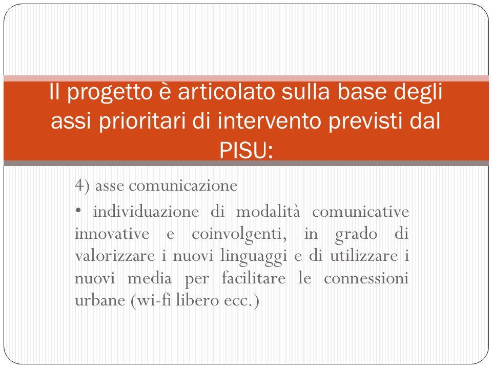 4) asse comunicazione individuazione di modalità comunicative innovative e coinvolgenti, in grado di valorizzare i nuovi linguaggi e di utilizzare i n