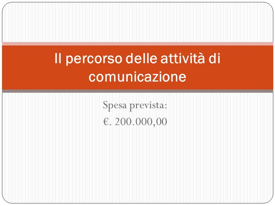 Spesa prevista:. 200.000,00 Il percorso delle attività di comunicazione