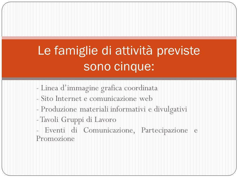 - Linea dimmagine grafica coordinata - Sito Internet e comunicazione web - Produzione materiali informativi e divulgativi - Tavoli Gruppi di Lavoro -