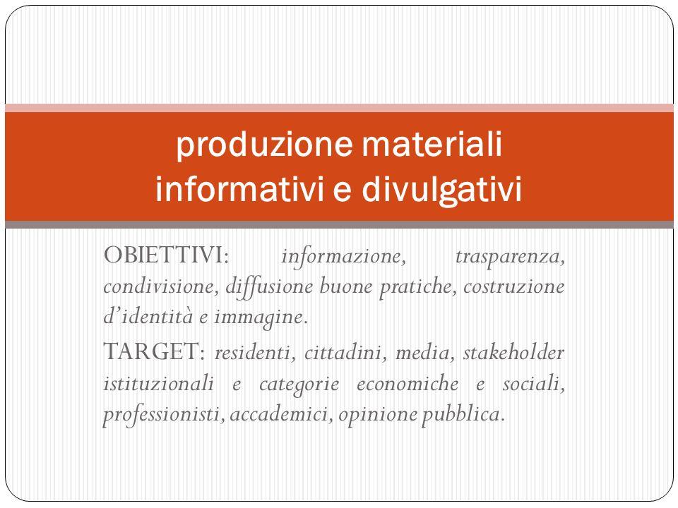 OBIETTIVI: informazione, trasparenza, condivisione, diffusione buone pratiche, costruzione didentità e immagine. TARGET: residenti, cittadini, media,
