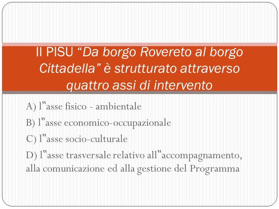 A) l asse fisico - ambientale B) l asse economico-occupazionale C) l asse socio-culturale D) l asse trasversale relativo all accompagnamento, alla com