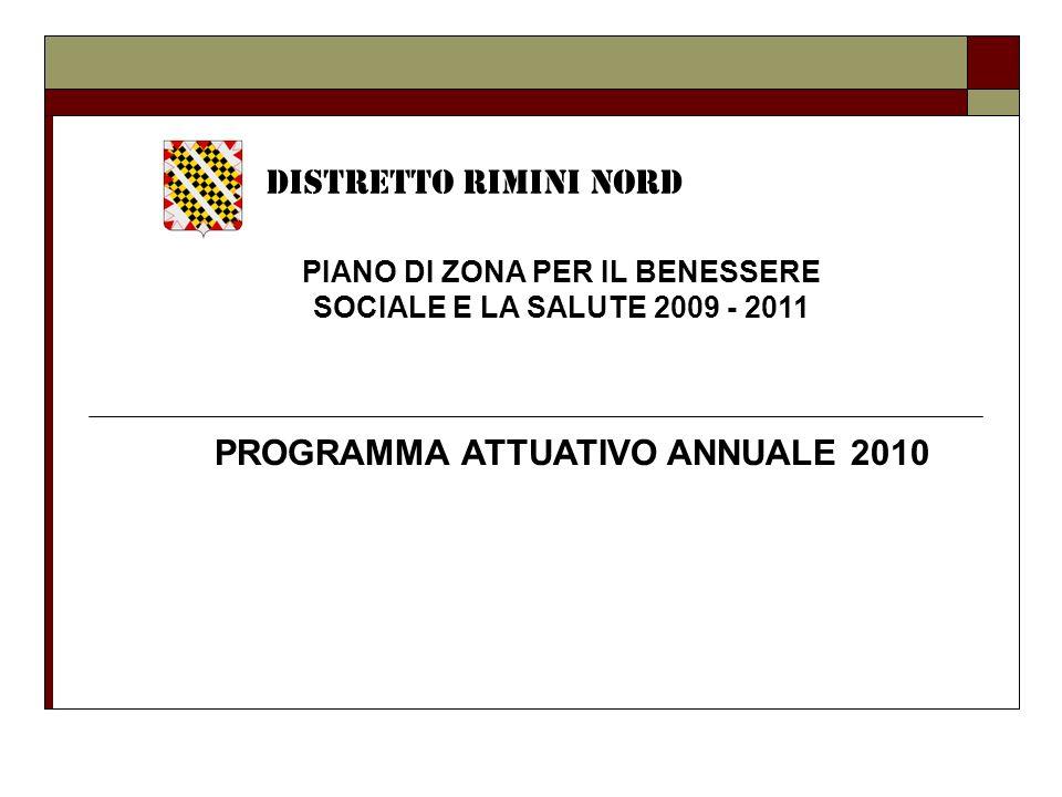 PIANO DI ZONA PER IL BENESSERE SOCIALE E LA SALUTE 2009 - 2011 DISTRETTO RIMINI NORD PROGRAMMA ATTUATIVO ANNUALE 2010