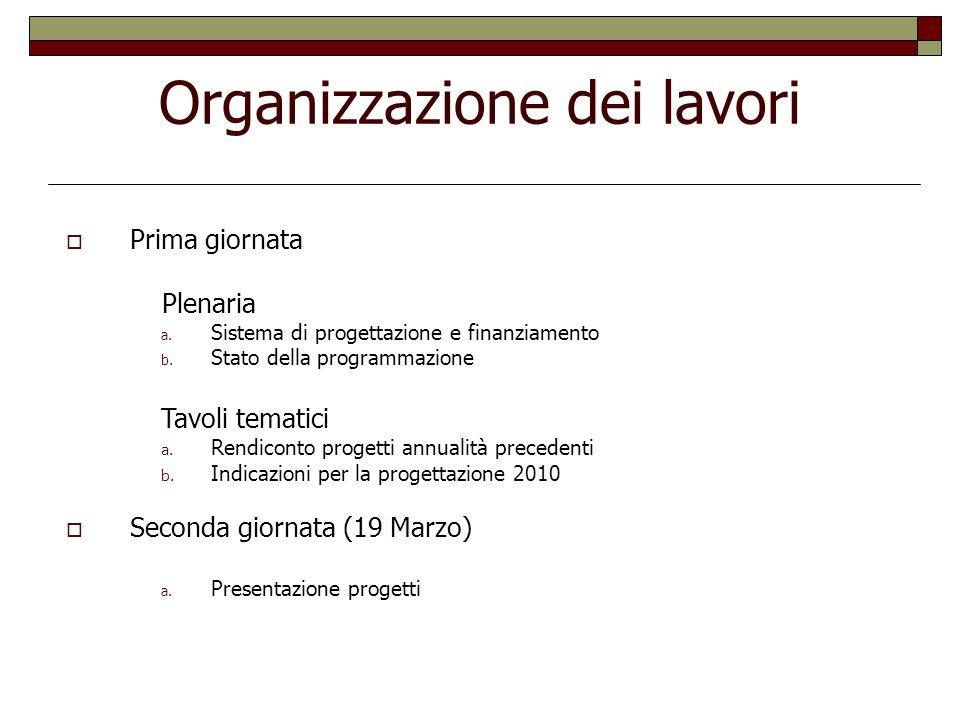 Organizzazione dei lavori Prima giornata Plenaria a. Sistema di progettazione e finanziamento b. Stato della programmazione Tavoli tematici a. Rendico
