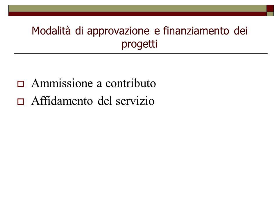Modalità di approvazione e finanziamento dei progetti Ammissione a contributo Affidamento del servizio