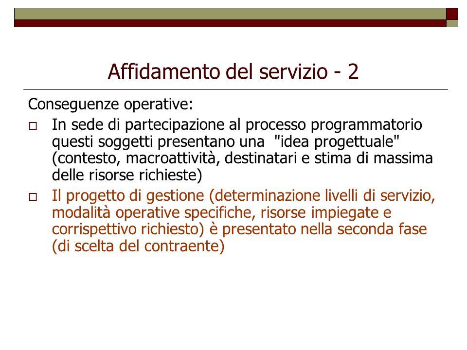 Affidamento del servizio - 2 Conseguenze operative: In sede di partecipazione al processo programmatorio questi soggetti presentano una
