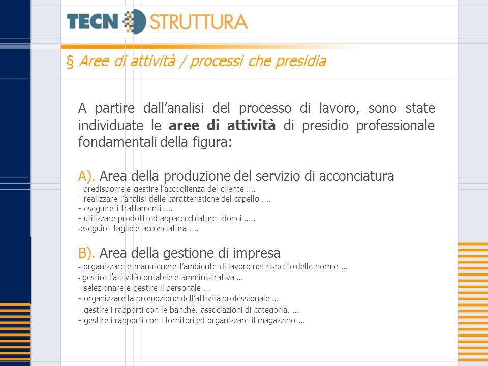 A partire dallanalisi del processo di lavoro, sono state individuate le aree di attività di presidio professionale fondamentali della figura: A). Area