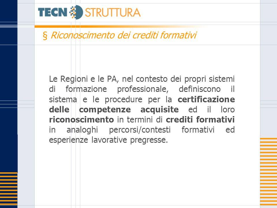 Le Regioni e le PA, nel contesto dei propri sistemi di formazione professionale, definiscono il sistema e le procedure per la certificazione delle com
