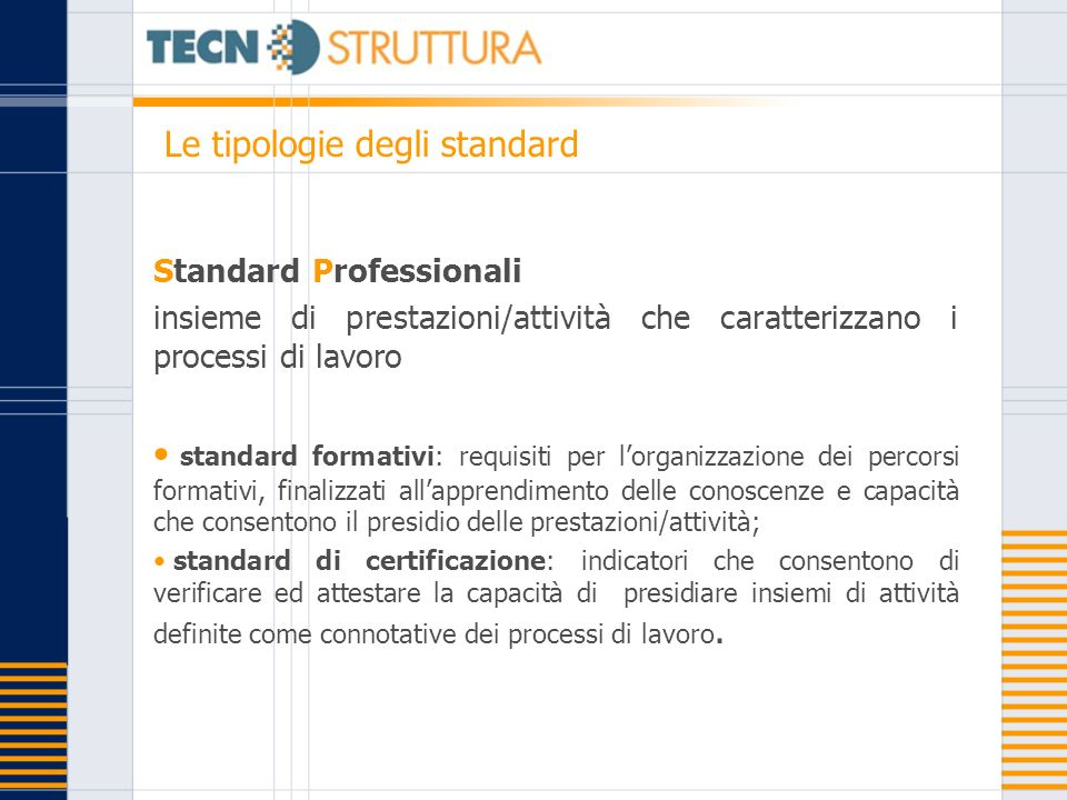 Standard Professionali insieme di prestazioni/attività che caratterizzano i processi di lavoro standard formativi: requisiti per lorganizzazione dei p
