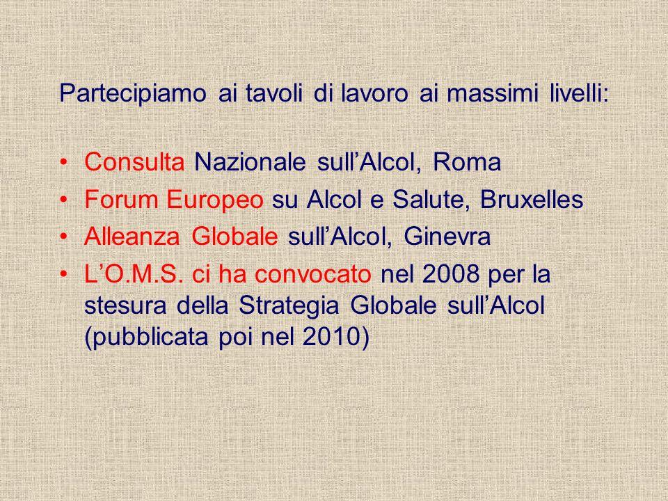 Partecipiamo ai tavoli di lavoro ai massimi livelli: Consulta Nazionale sullAlcol, Roma Forum Europeo su Alcol e Salute, Bruxelles Alleanza Globale sullAlcol, Ginevra LO.M.S.