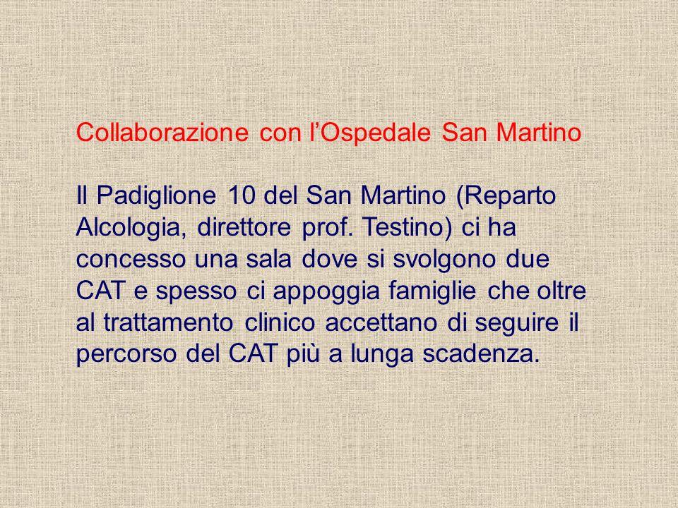 Collaborazione con lOspedale San Martino Il Padiglione 10 del San Martino (Reparto Alcologia, direttore prof. Testino) ci ha concesso una sala dove si