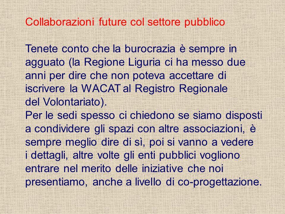 Collaborazioni future col settore pubblico Tenete conto che la burocrazia è sempre in agguato (la Regione Liguria ci ha messo due anni per dire che no