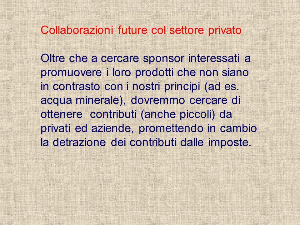 Collaborazioni future col settore privato Oltre che a cercare sponsor interessati a promuovere i loro prodotti che non siano in contrasto con i nostri principi (ad es.