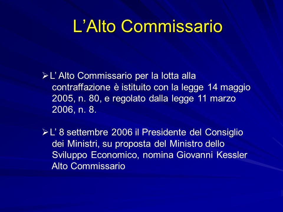 LAlto Commissario L Alto Commissario per la lotta alla contraffazione è istituito con la legge 14 maggio 2005, n. 80, e regolato dalla legge 11 marzo