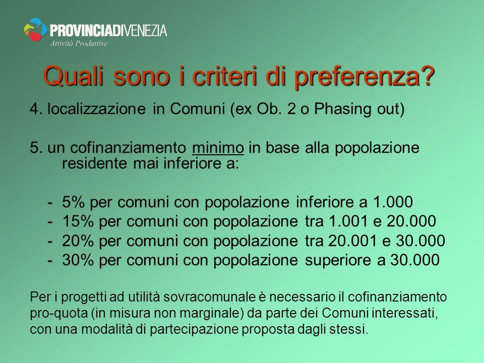 4. localizzazione in Comuni (ex Ob. 2 o Phasing out) 5.