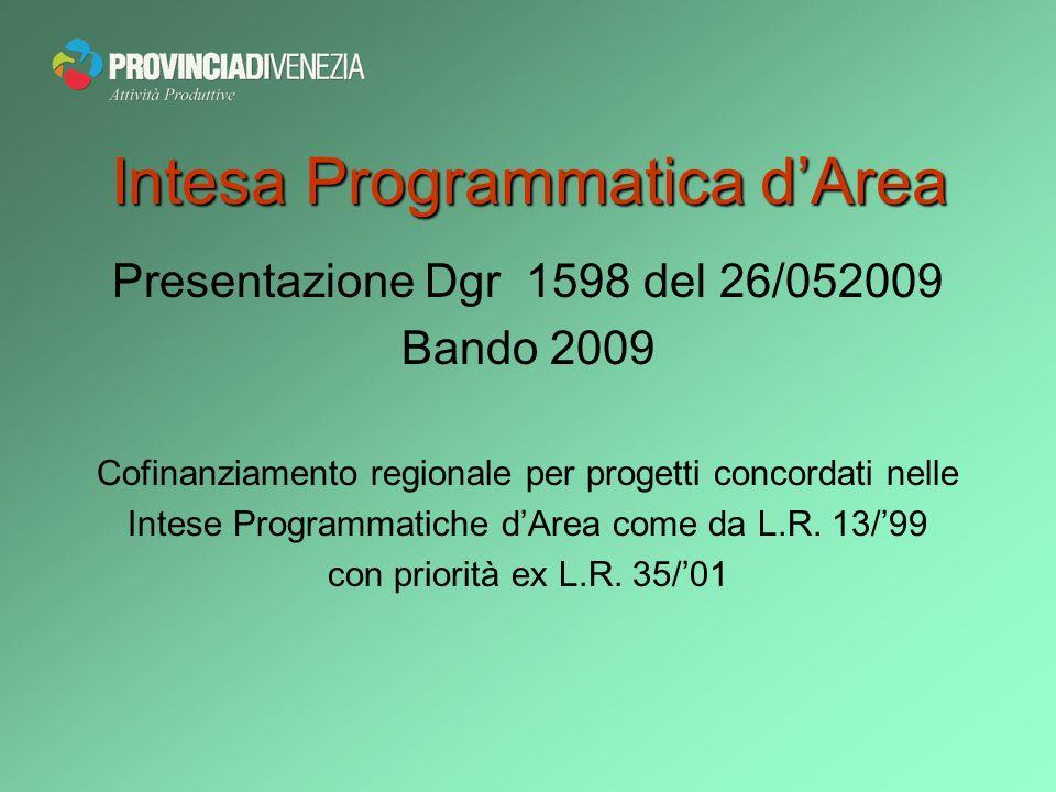 Intesa Programmatica dArea Presentazione Dgr 1598 del 26/052009 Bando 2009 Cofinanziamento regionale per progetti concordati nelle Intese Programmatiche dArea come da L.R.