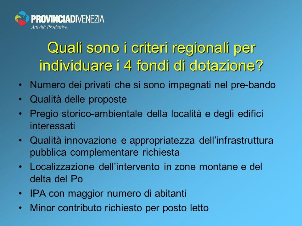 Quali sono i criteri regionali per individuare i 4 fondi di dotazione.