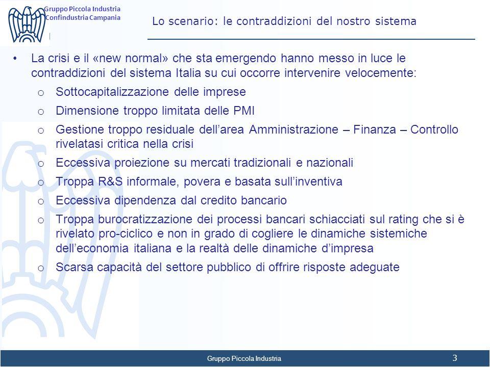 Gruppo Piccola Industria 4 Confindustria Campania Lo scenario: il problema del rischio sistemico La cura dimagrante delleconomia italiana si è riflessa anche nella struttura degli impieghi del sistema creditizio A Dicembre 2012 su 2.218 miliardi di crediti si registravano circa 286 miliardi (13,4%) di crediti deteriorati (sofferenze+incagli+ristrutturati+past due) Nel Rapporto sulla Stabilità Finanziaria Banca dItalia stima che a Giugno 2013 i crediti deteriorati lordi siano pari al 14,7% (15,2 le prime 5 banche) su circa 2.076 mld di crediti alla clientela.