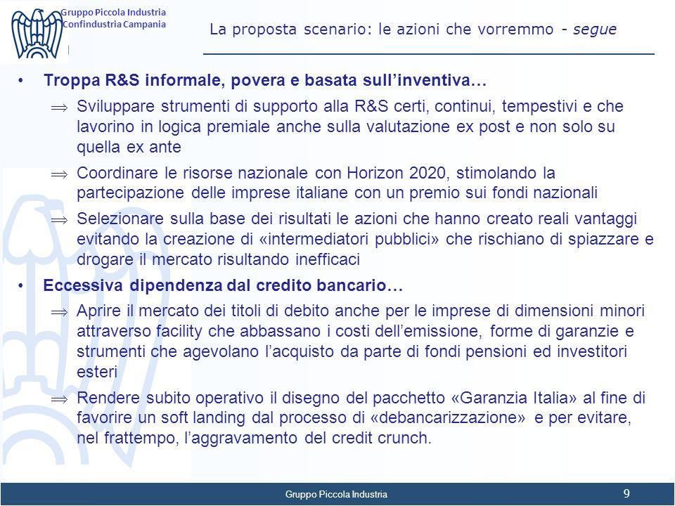 Gruppo Piccola Industria 9 Confindustria Campania La proposta scenario: le azioni che vorremmo - segue Troppa R&S informale, povera e basata sullinven